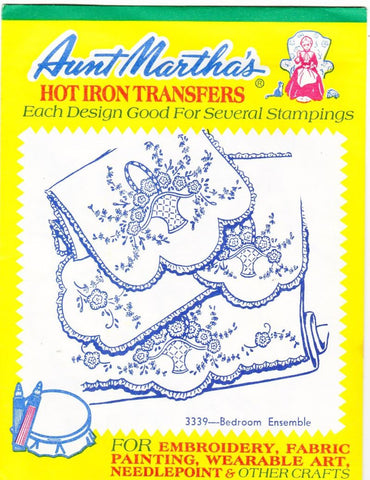 Vintage Aunt Martha's Hot Iron Transfers From Colonial Patterns RETIRED 3339 Bedroom Ensemble For Decorative Linens