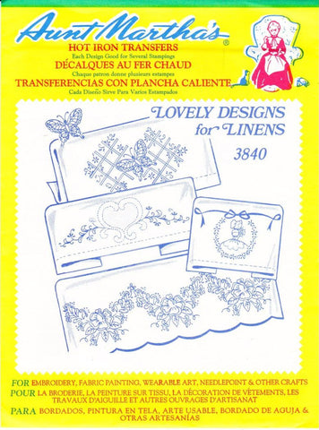 Vintage Aunt Martha's Hot Iron Transfers From Colonial Patterns RETIRED 3840 Lovely Designs For Linens