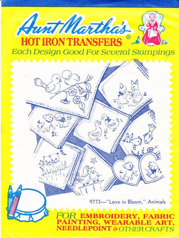 Vintage Aunt Martha's Hot Iron Transfers From Colonial Patterns 9773 Love In Bloom Animals