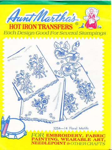 Vintage Aunt Martha's Hot Iron Transfers From Colonial Patterns 3254 14 Floral Motifs