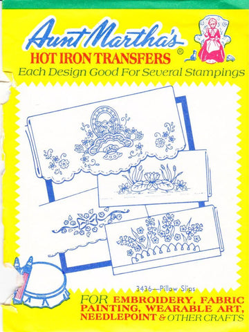 Vintage Aunt Martha's Hot Iron Transfers From Colonial Patterns RETIRED 3436 Pillow Slips For Decorative Linens