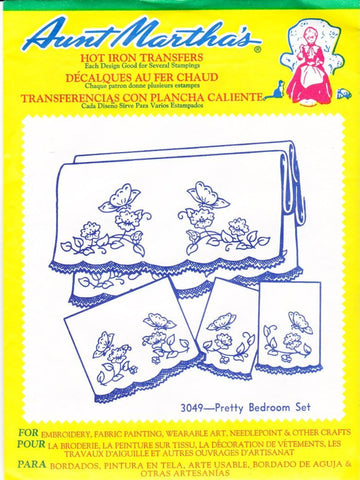 Vintage Aunt Martha's Hot Iron Transfers From Colonial Patterns RETIRED 3049 Pretty Bedroom Set