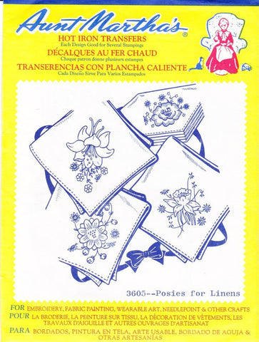 Vintage Aunt Martha's Hot Iron Transfers From Colonial Patterns RETIRED 3605 Posies For Linens