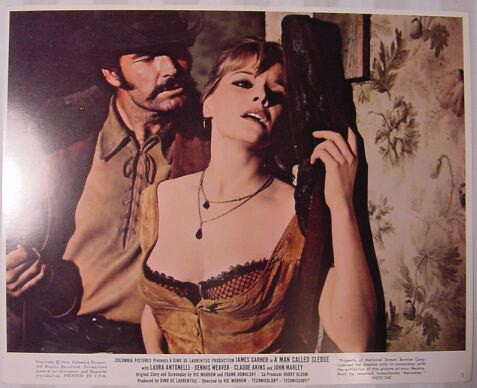 Vintage James Garner and Laura Antonelli A Man Called Sledge 1970 8x10 Lobby Card