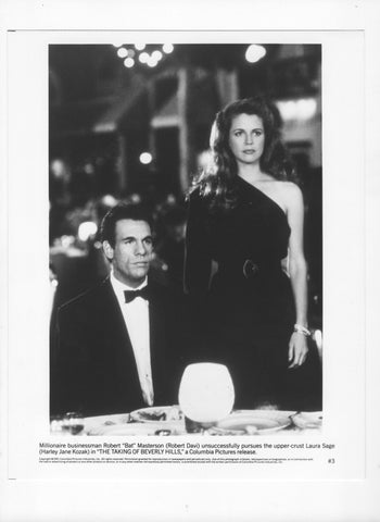 Vintage 1991 Photograph Robert Davi Harley Jane Kozak 8x10 Black and White Photograph - Studio Promotion - The Taking Of Beverly Hills