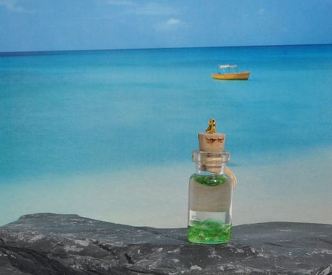 Modern Handmade May Birthstone Emerald Light Green Sea Glass in Miniature Bottle - Hand Crafted