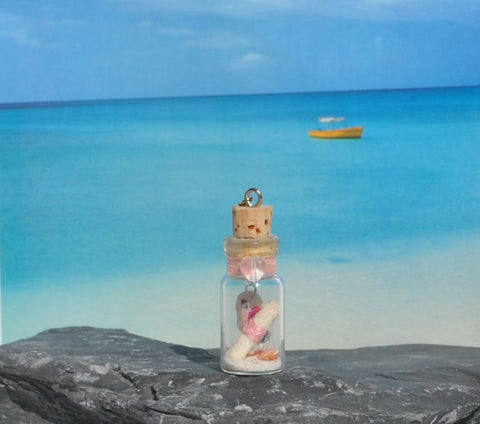 Modern Handmade Happy Valentines Day From The Beach! Miniature glass bottle