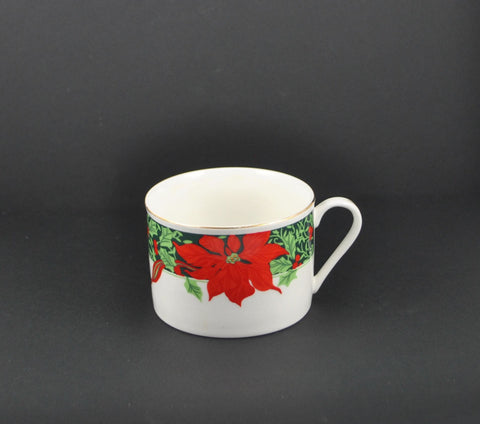 Vintage Gibson Christmas Holly Poinsettia & Ribbons Coffee China Cup - Christmas - Holidays - Coffee - Cup - Mug - Flowers - Poinsettia  - Holly