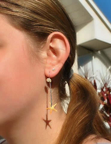 Modern Handmade Delicate Starfish and Caladesi Island Sea Shell Earrings