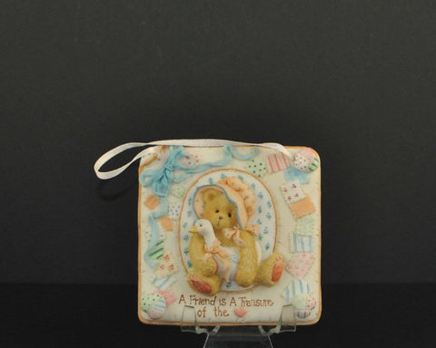 "Vintage Cherished Teddies ""A Friend is A Treasure Of The Heart Plaque 1993 #627372 Priscilla Hillman Enesco"