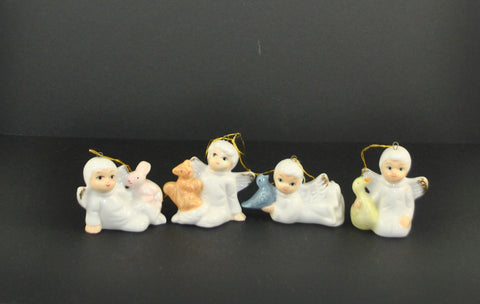 Vintage Bone China Mini Angel Ornaments Set of 4 for Christmas Around the World