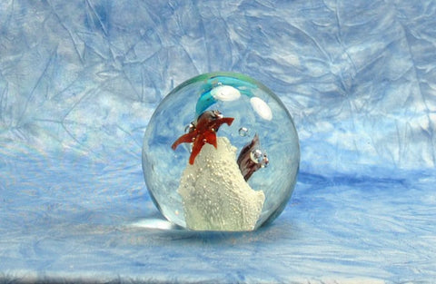 Vintage 1970-1980's Acrylic Under The Sea Paperweight With Blue Dolphins, Star Fish, Shells And White Coral