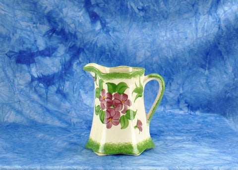 Vintage 1940s Cash Family Pottery Hand Painted Small Green Creamer Pitcher Erwin Tennessee