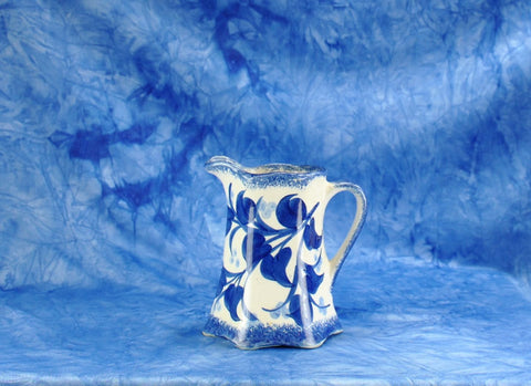 Vintage 1940s Cash Family Pottery Hand Painted Small Blue And White Creamer Pitcher Erwin Tennessee