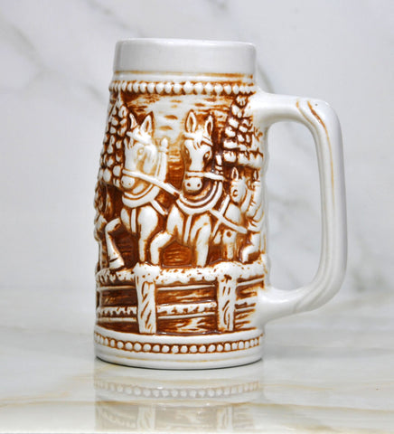 Vintage Beautiful Brown And White Beer Stein Depicting Horses Pulling A Cart Made In Brazil