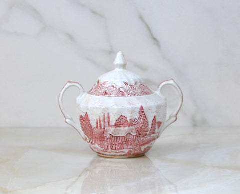 Vintage English Country Scenes 1950's Sugar Bowl With Lid By British Anchor