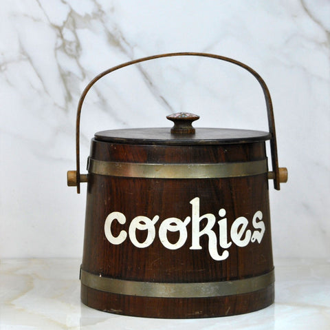 Vintage 1980s Wooden Bucket Cookie/Biscuit Bucket With Hand Painted Cookies And Flowers On Lid