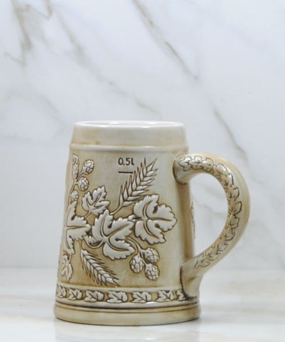Vintage Ceramarte Beer Stein,Tan Stein Embossed with Barley and Hops, Half Liter