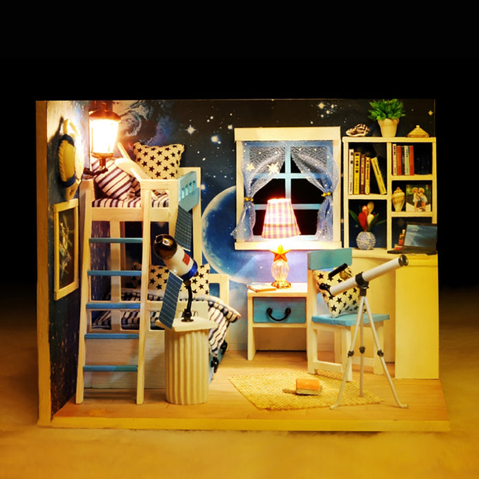 Lineguard DIY LED Doll House Mini Home Music Lighting Miniature Furniture Kit