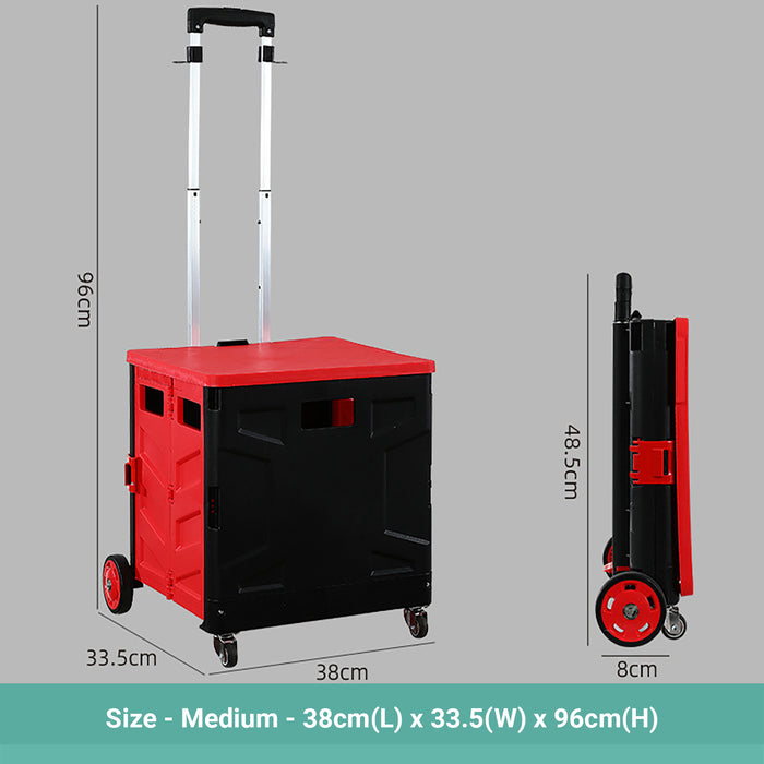 Wasel Foldable Shopping Trolley Cart Black-Red Luggage Wheeled With Handle