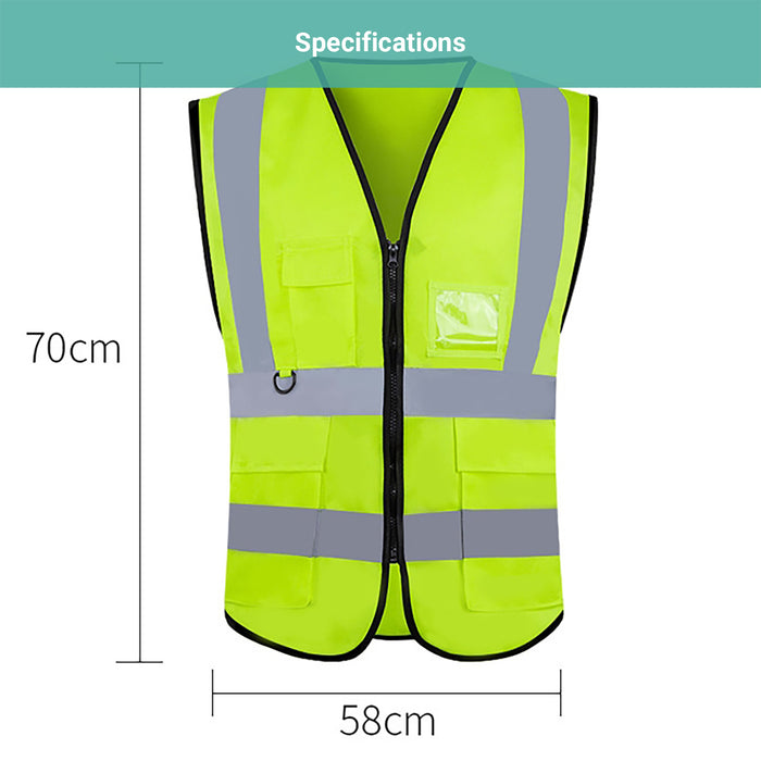 Titan Safety Reflective Vest Traffic Wear With Pocket Zip Visibility Waistcoat