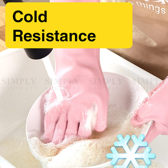 Silicone Scrubbing Gloves Magic Dish Scrubber Washing Cleaning Sponge Rubber - Simply Homeware