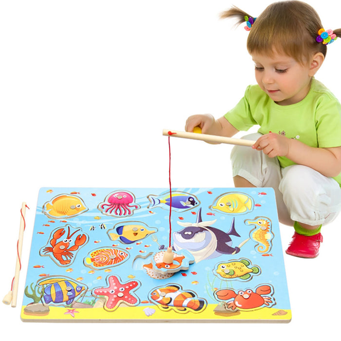 Truboo Kids Magnetic Fishing Toy Children Wooden Puzzle Game Set Toddlers 2 3 4