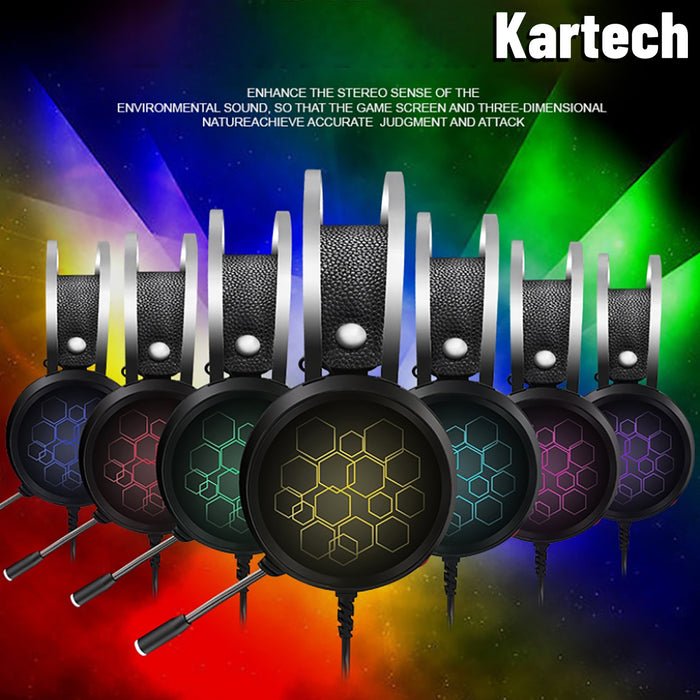 Kartech Gaming Headset Wired Game LED Light Headphones Microphone Noise Cancel