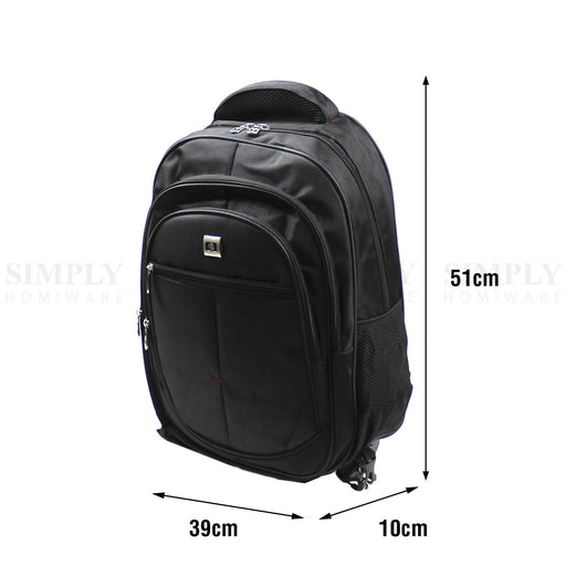 Laptop Backpack Bag Travel 16 Notebook Waterproof Black Computer Case Strap Men - Simply Homeware