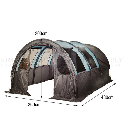 Camping Swag Tent Double 6 Person Hiking Canvas Waterproof Portable Poles Deluxe - Simply Homeware