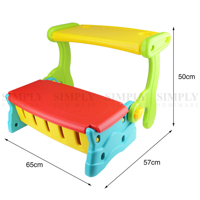 Kids Bench Table 2 In 1 Seat Chair Storage Outdoor Indoor Play Plastic Lounge - Simply Homeware