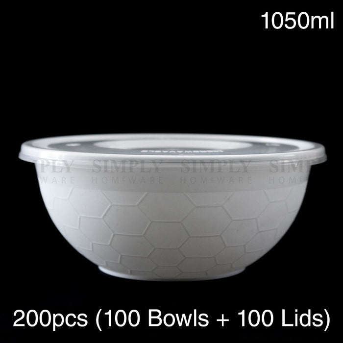 Take Away Food Containers Round Bowls Takeaway Plastic Soup Noodle Bulk 1050ml - Simply Homeware
