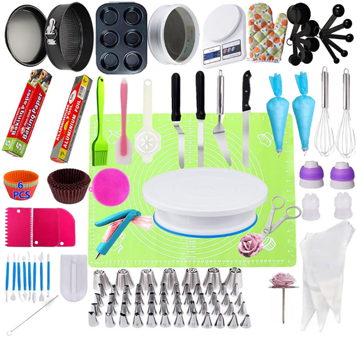 Lecluse Cake Decorating Tools Set Baking Turntable Rotating Stand 73/223Pcs
