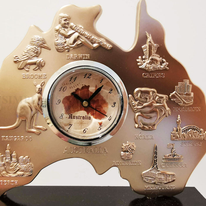 Australian Souvenirs Map Clock Movement Bedside Copper Aussie Gift Bulk Small - Simply Homeware
