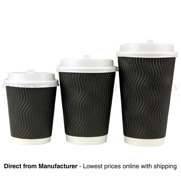 Disposable Coffee Cups 4oz 8oz 12oz 16oz Takeaway Paper Triple Wall Drink Bulk - Simply Homeware