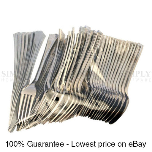 150x Disposable Cutlery Set Metallic Silver Plastic Spoons Forks Knives Party - Simply Homeware