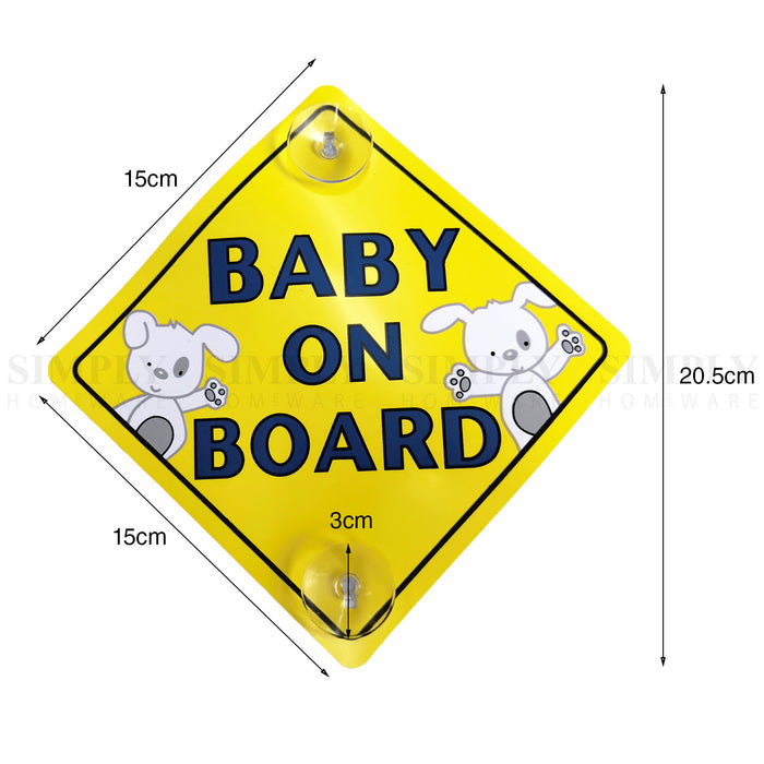 2x Baby on Board Car Sign Suction Cup Decal Yellow Kids Family Safety In Sticker - Simply Homeware