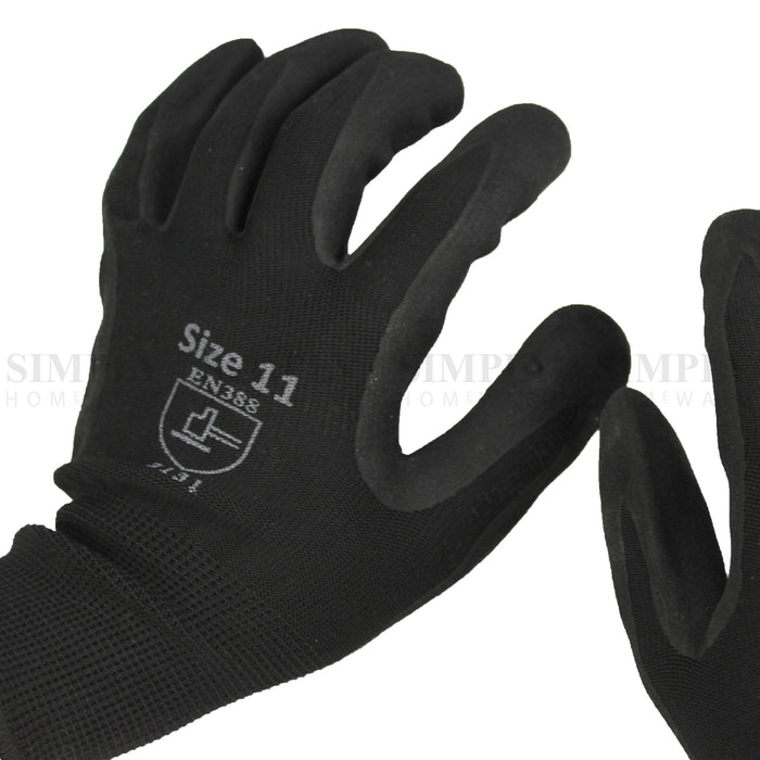 Bulk 12 Pair Nitrile Dipped Safety Work Gloves Black Hi Vis Sandy Finish Grip - Simply Homeware