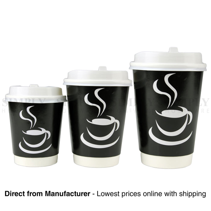 Disposable Coffee Cups 8oz 12oz 16oz Takeaway Paper Double Wall Take Away Bulk - Simply Homeware