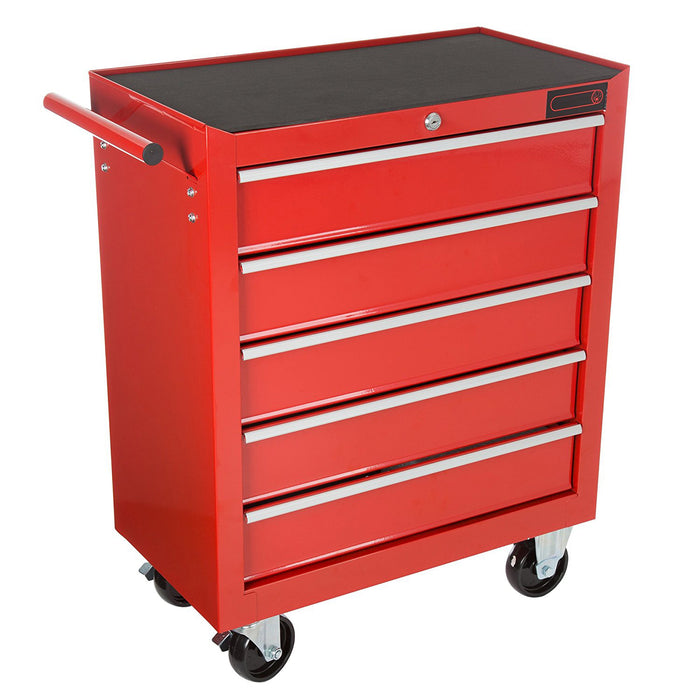 5 Drawers Tool Cabinet Roller Door Trolley Box Chest Storage Mechanic Wheels Red - Simply Homeware