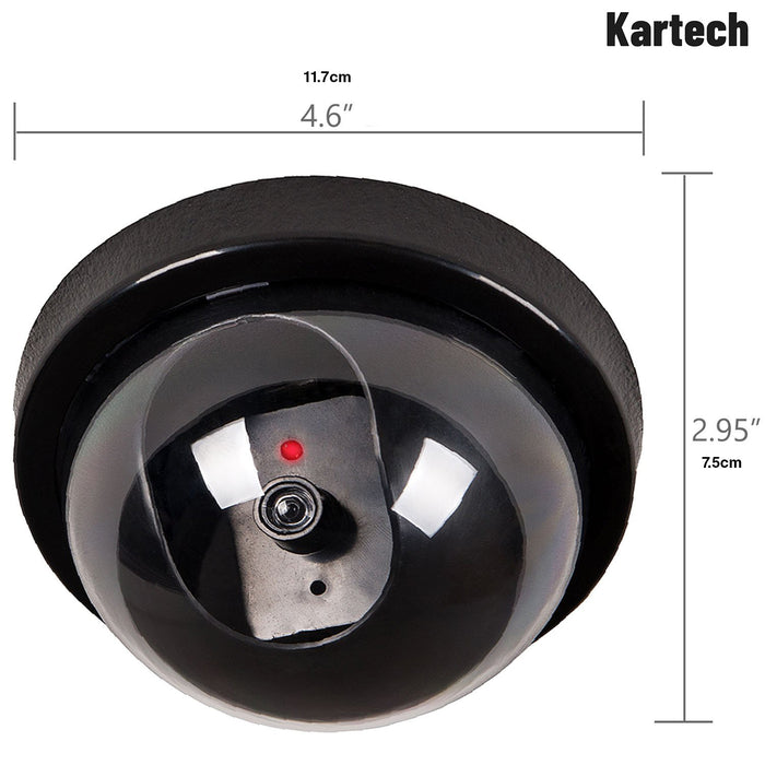 4 Kartech Fake Security Camera Dummy Surveillance LED CCTV Dome Flashing Outdoor