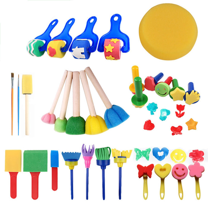Truboo Kids Painting Brush Set Sponge Toy Children Toddler DIY Tool Kit 30/64Pcs