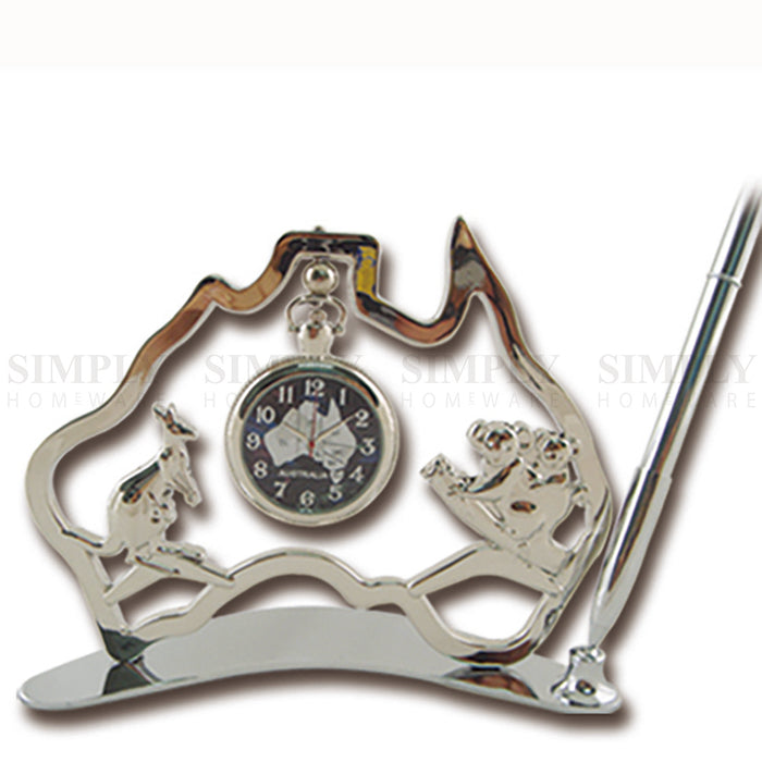 Australian Souvenirs Map Clock Pen Movement Beside Gold Aussie Gift Bulk - Simply Homeware