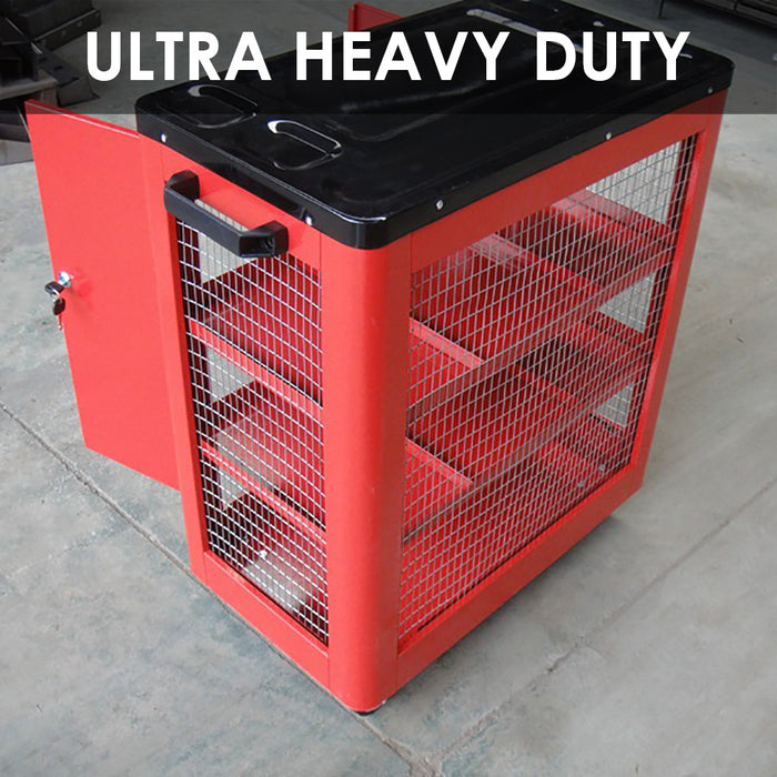 Tool Cart Trolley Heavy Duty Metal 4 Tier Mechanic Industrial Lock Drawer 200KG - Simply Homeware