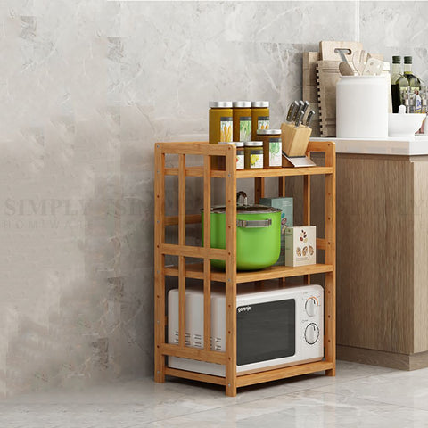 Bamboo Kitchen Storage Shelf Rack Shelves Spice Bathroom Organiser Jar 345 Tier