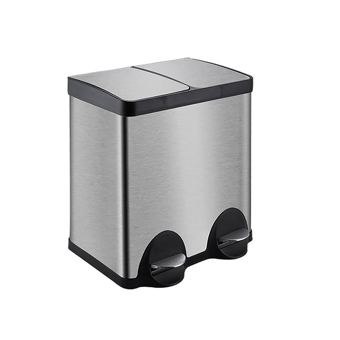 Wasel Trash Can Garbage Rubbish Bin Stainless Steel Dual Pedal Kitchen Waste