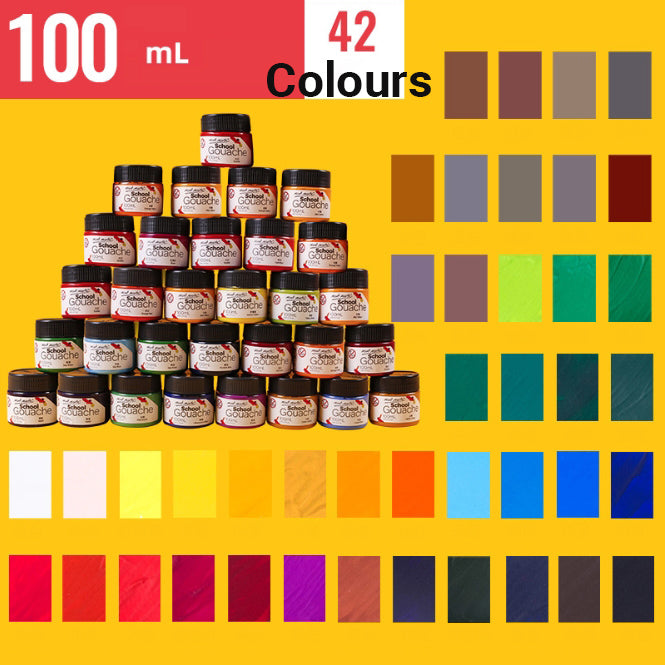 Lineguard Gouache Paint Set School Pigment Case Art Crafts 24/42 Colours 100ml