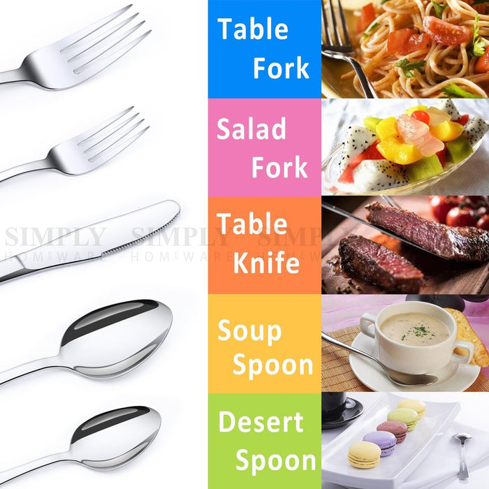 Stainless Steel Cutlery Set Silver Knife Fork Spoon Teaspoon Teafork Bulk Dinner
