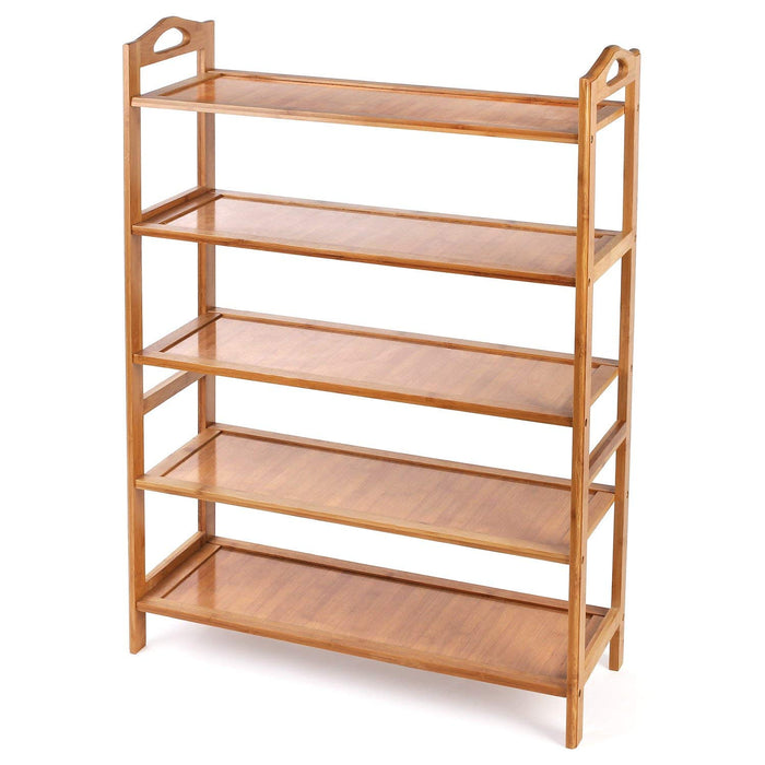 5 Tier Bamboo Bathroom Shelf Shoe Rack Shower Caddy Shelves Organiser Storage