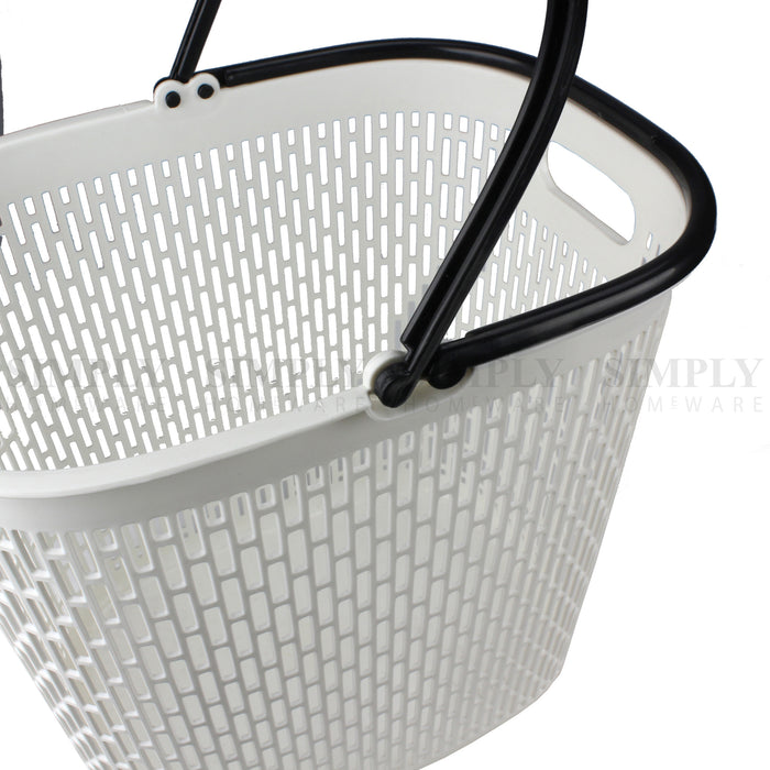 Laundry Basket Clothes Baskets Plastic Washing Bin Hamper Storage Bathroom White - Simply Homeware